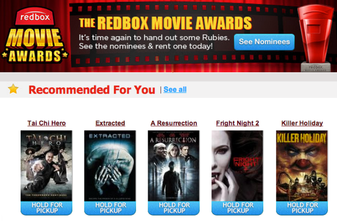 Redbox Recommendations via email
